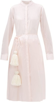 Jil Sander Belted Satin Pyjama Shirtdress - Womens - Light Pink