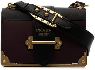 Prada black and burgundy cahier leather crossbody bag
