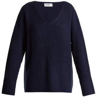 Frame - Oversized V Neck Ribbed Knit Sweater - Womens - Navy