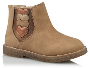 George First Walkers Tan Heart Trim Chelsea Boots
