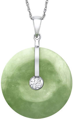 FINE JEWELRY Dyed Green Jade Sterling Silver Disc Pendant Necklace
