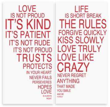 Love Is & Life Is I Typography Wall Décor (Set of 2)