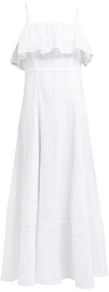 Loup Charmant Sintra Stripe Woven Cotton Dress - Womens - White