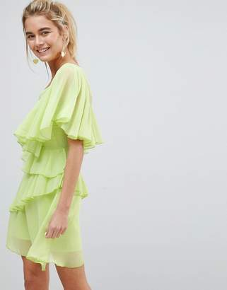 Asos Design V Neck Ruffle mini dress