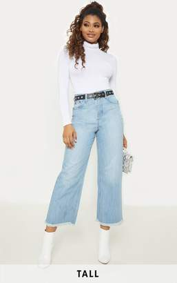 PrettyLittleThing Tall Light Wash Cropped Wide Leg Jean