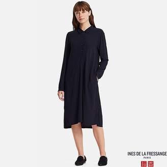 Uniqlo Women's Georgette Long-sleeve Shirt Dress (ines De La Fressange)