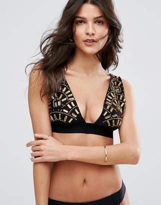 Asos PREMIUM Golden Fan Embellished Deep Triangle Bikini Top