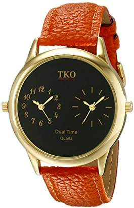 TKO Dual Time Zone Gold Watch Leather Strap Ideal for the Around The World Traveler or Flight Attendant TK657