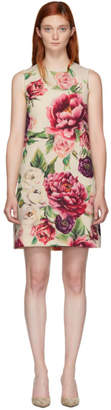 Dolce & Gabbana Beige and Pink Peony Dress