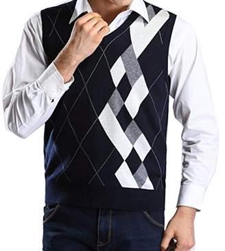 Lisianthus Mens' Argyle V-Neck Sweater Vest XL
