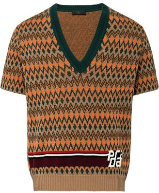 Prada jacquard short sleeve sweater