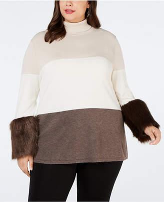 Alfani Plus Size Faux-Fur-Cuff Colorblocked Turtleneck Sweater