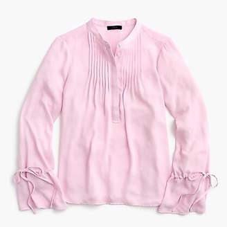 J.Crew Petite tie-sleeve top with pintucks