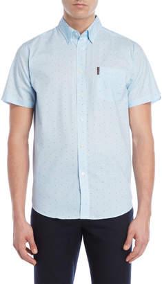 Ben Sherman Blue Geo Maze Print Short Sleeve Sport Shirt