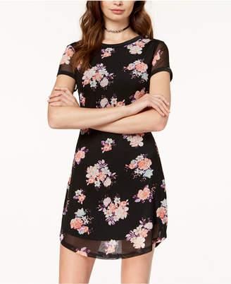 Ultra Flirt Juniors' Floral-Print Mesh T-Shirt Dress
