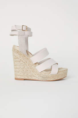 H&M Wedge-heel Platform Sandals - Beige