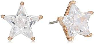 """Betsey Johnson Betsey Blue"""" Cubic Zirconia Star Stone Studs With Rose Gold Tone Details Earrings"""