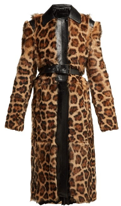 Leopard Print Shearling Coat - Womens - Multi