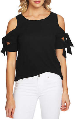 CeCe Self-Tie Cold-Shoulder Top