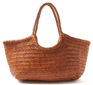 Dragon Optical Diffusion - Nantucket Woven Leather Basket Bag - Womens - Tan