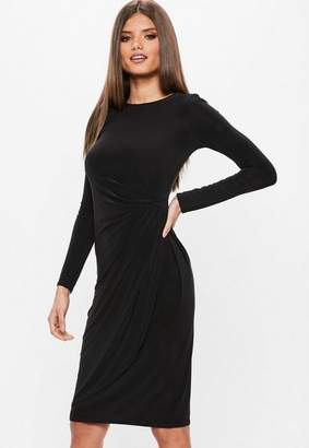Missguided Black Slinky Twist Front Asymmetric Split Hem Midi Dress