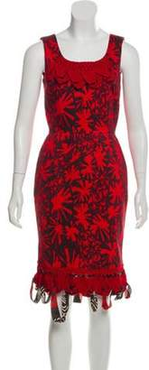 Oscar de la Renta Printed Crochet-Accented Dress w/ Tags Printed Crochet-Accented Dress w/ Tags