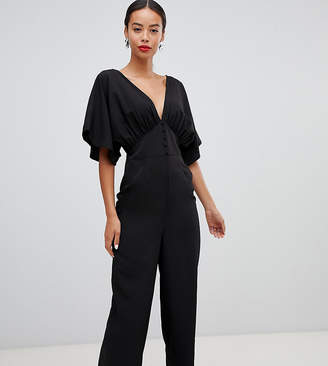 Asos Tall DESIGN Tall Tea Jumpsuit With Kimono Sleeve And Button Detail