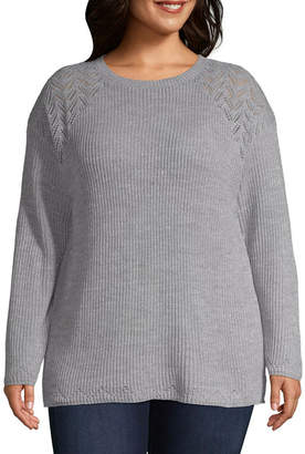 ST. JOHN'S BAY Pointelle Crew Neck Sweater - Plus