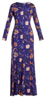 Diane von Furstenberg Canton Print Silk Jersey Maxi Dress - Womens - Blue Print