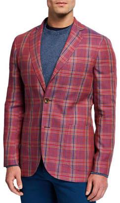 Etro Men's Plaid Linen/Wool Sport Jacket