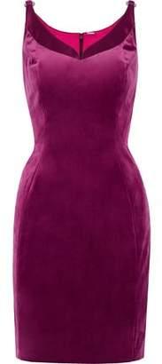 Elie Tahari Rena Satin-Trimmed Velvet Mini Dress