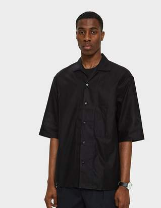 Lemaire Convertible Collar Shirt in Black