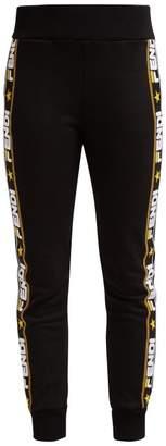 Fendi Logo Tape Cotton Blend Track Pants - Womens - Black Gold