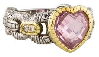 Judith Ripka Diamond & Pink Crystal Cocktail Ring