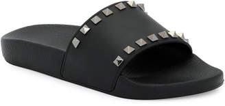Valentino Rockstud Pool Slide Sandals, Black