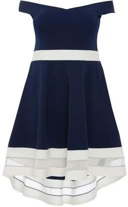 Quiz Curve Navy And Cream Bardot Dip Hem Dress