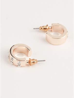 At George Asda Gold Tone Chunky Hoop Diamante Encrusted Earrings