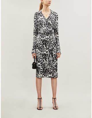 Diane von Furstenberg Ross leopard-print silk midi wrap dress