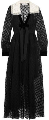 Philosophy di Lorenzo Serafini Velvet-trimmed Lace Maxi Dress - Black
