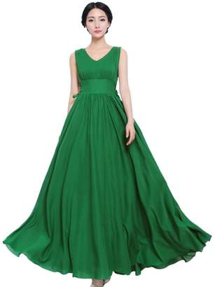 JYE High Waist V neck Sleeveless Chiffon Pleated Long Summer Beach Sun Dress Prom