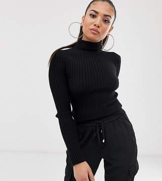 Asos DESIGN Petite roll neck sweater in fine knit rib