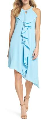 Adrianna Papell Double Ruffle Gauzy Crepe Shift Dress
