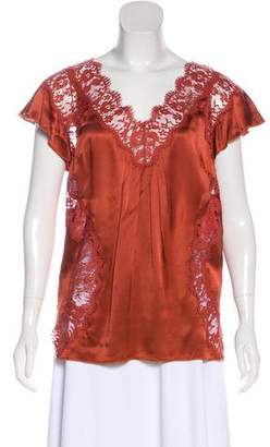 Dolce & Gabbana Silk Lace-Accented Short Sleeve Top