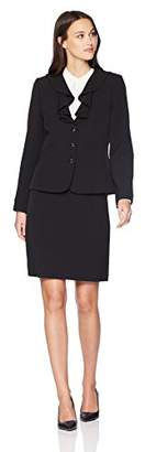 Tahari by Arthur S. Levine Women's Crepe Short Sleeve Skirt Suit with Ruffled Collar