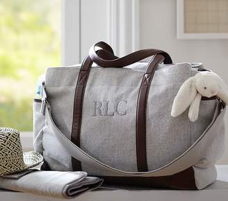 Pottery Barn Kids Grey Herringbone Classic Diaper Bag