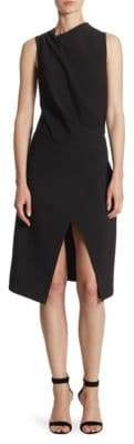 Halston Mockneck Draped Knee-Length Dress