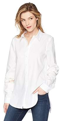 Calvin Klein Women's Boyfriend Blouse with LACE Detail