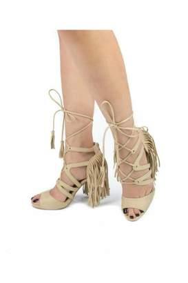 Qupid Fringe Lace-Up Heel