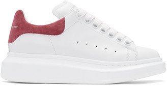 Alexander McQueen White & Pink Suede Tab Sneakers $575 thestylecure.com