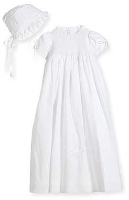 Isabel Garreton Pearls Smock Embroidered Cotton Christening Gown w/ Bonnet, White, Size 6-12 Months